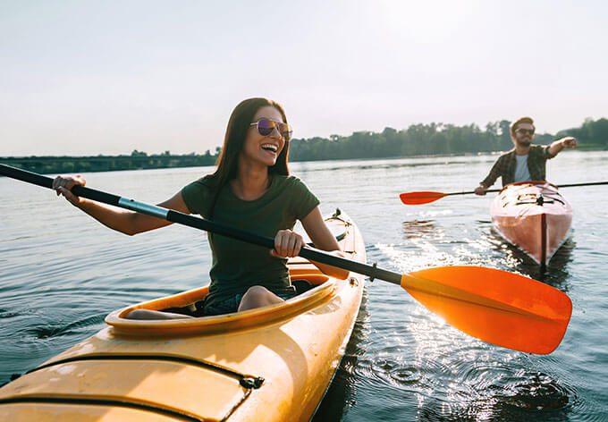 Couple kayaking in Carmel, CA