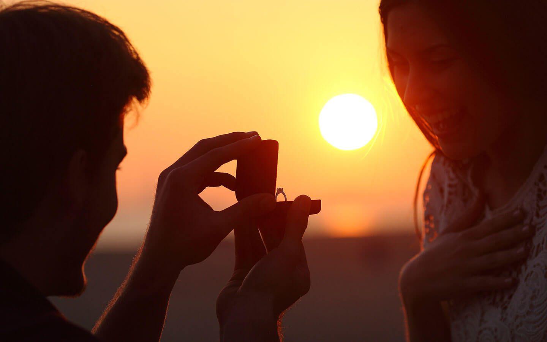 A romantic sunset proposal