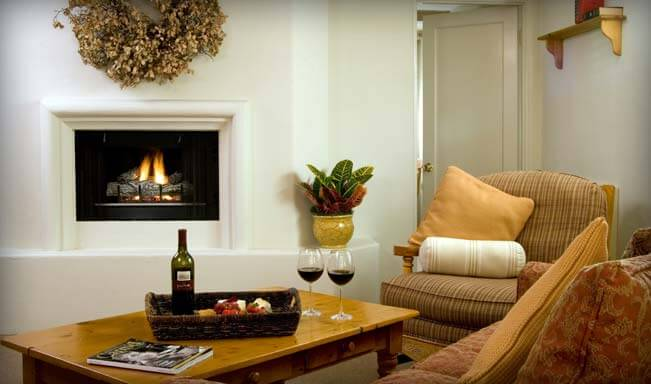 Carmel Lodging - Living Room and Fire