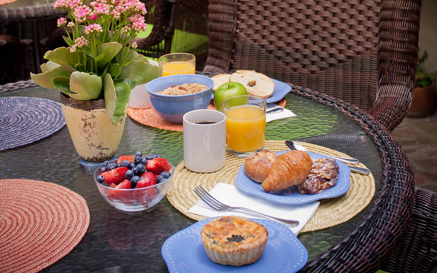 Breakfast on a table outdoors
