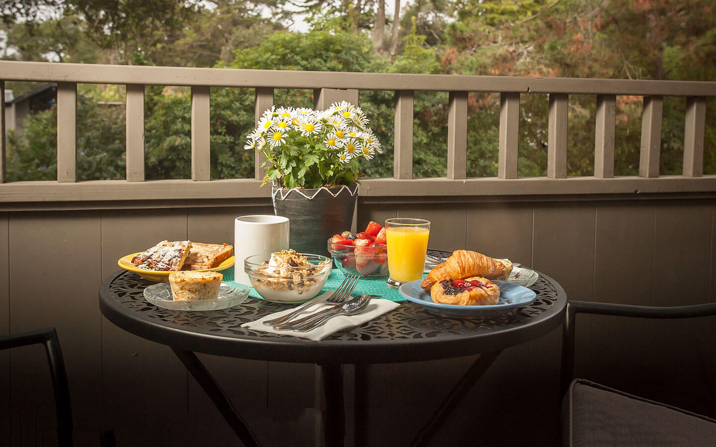 Carmel Breakfast on a table on the deck