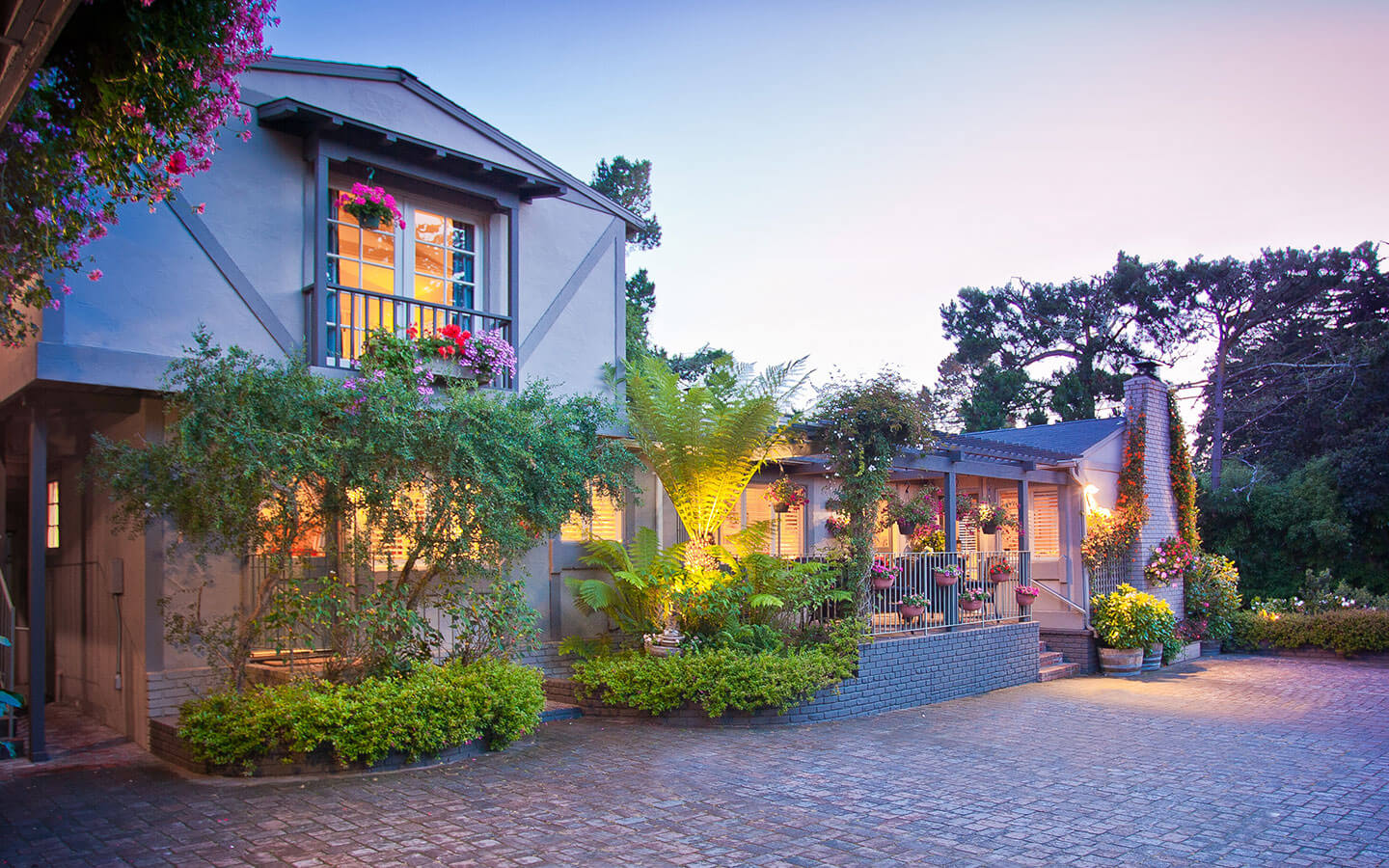 Our charming Carmel bed and breakfast at dusk