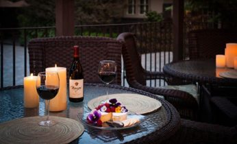 Wine and cheese on patio in Carmel