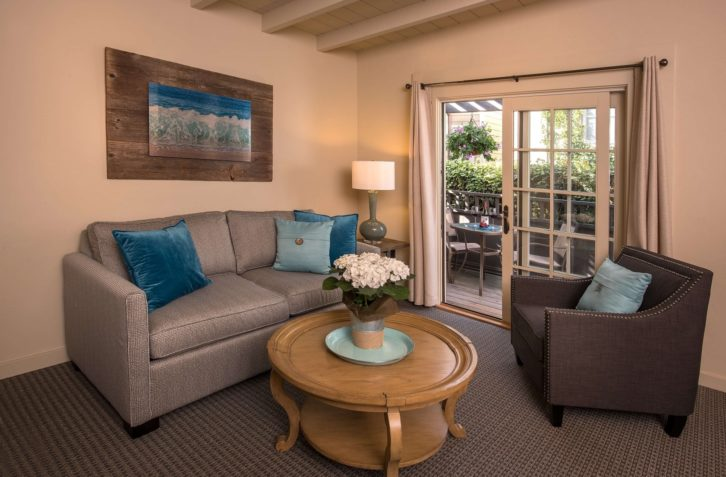 Enjoy a private patio in this spacious suite