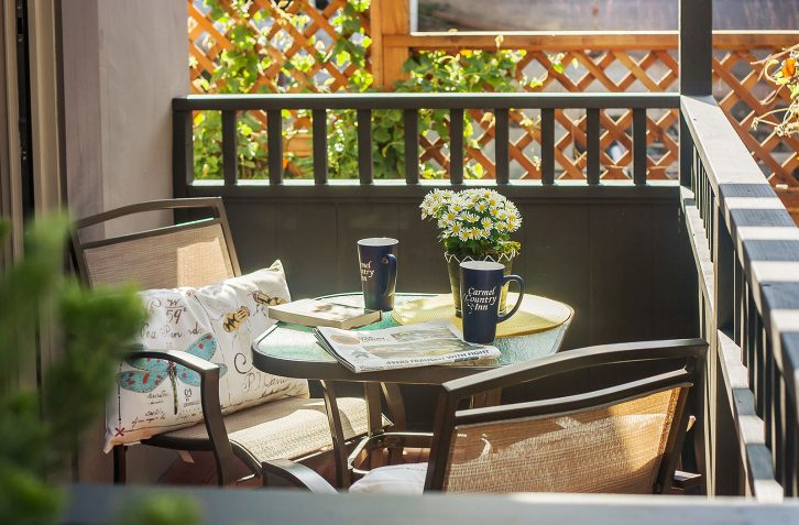 Enjoy your morning cup of coffee al fresco on your own private patio