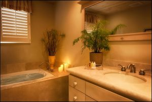 King Studio Bathroom with spa tub and sink