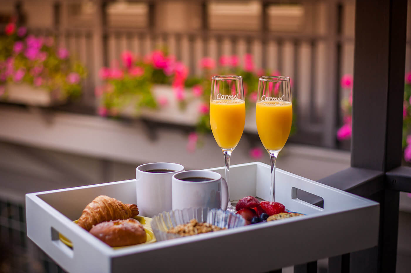 breakfast tray at our Carmel boutique hotel