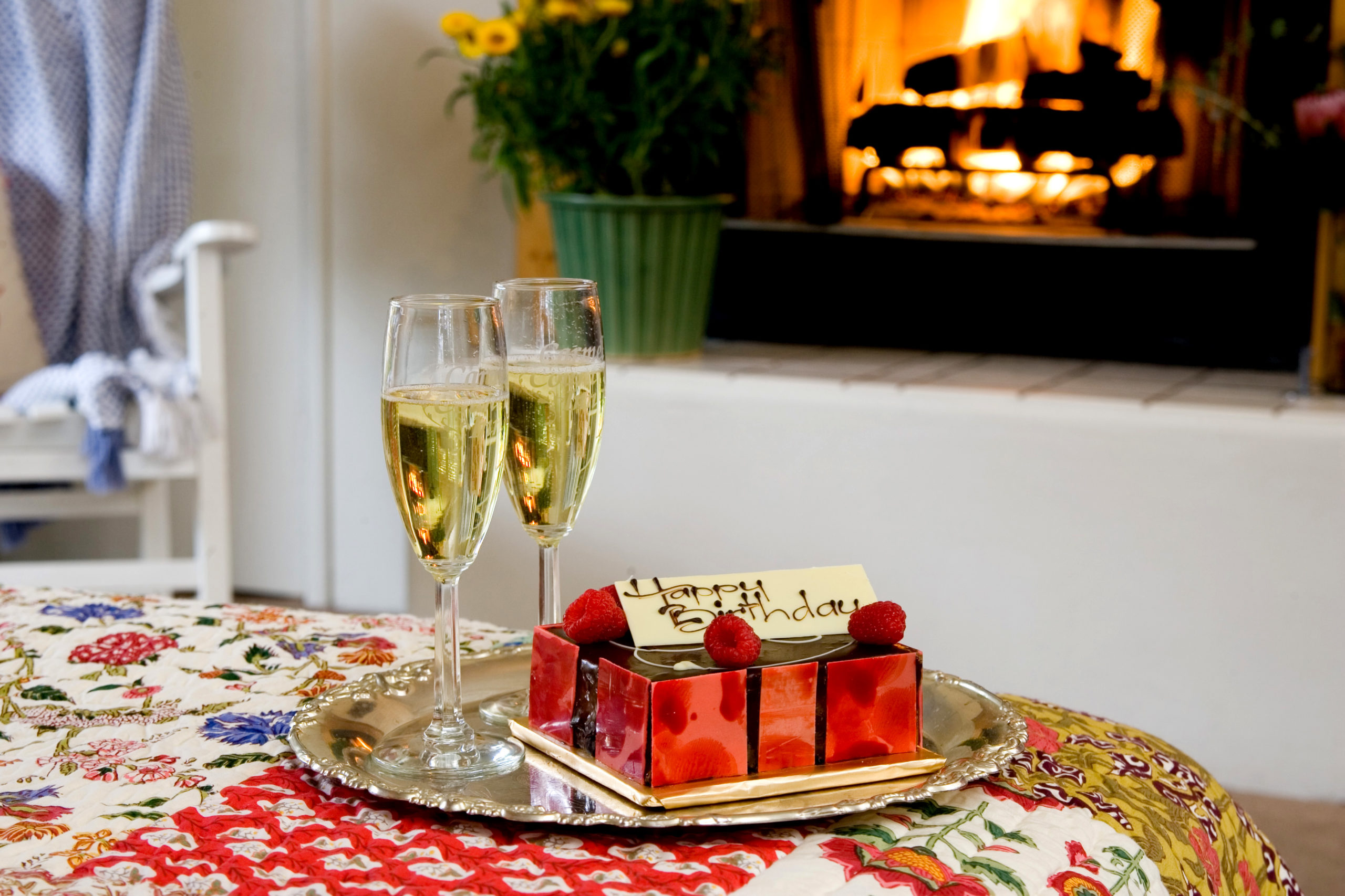 Sparkling Cider and personalized cake for two